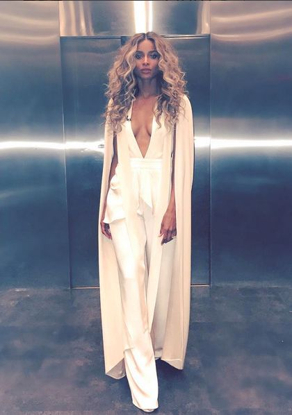 Ciara word this amazing  Juan Carlos Obando jumpsuit on GMA to announce the 2016 Billboard Award nominees.