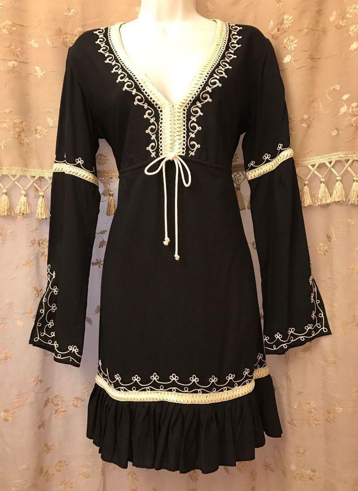 MODA International Embroidered Hippie Gypsy Boho Peasant Tunic Dress NWOT sz M | eBay