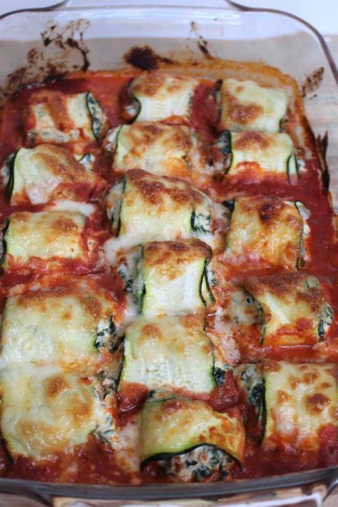 Courgetterolletjes met ricotta en spinazie