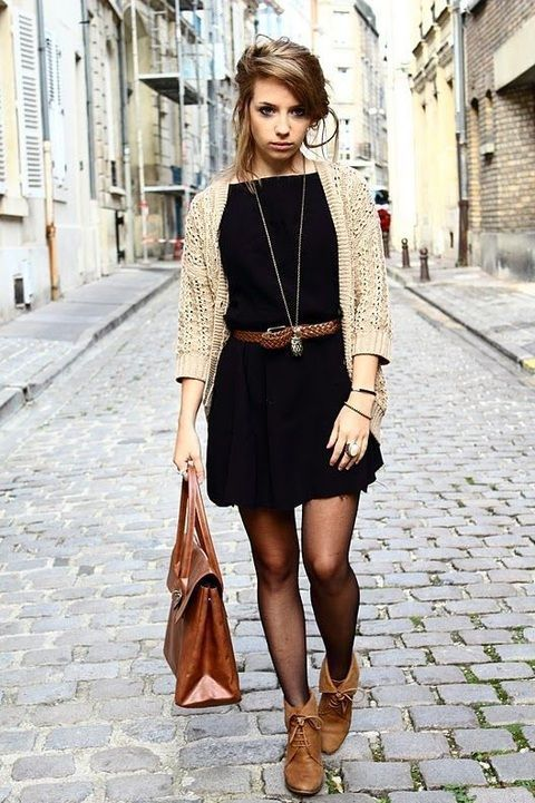 We can see this model rocking the Leaf Necklace with this wonderful fall style.  The gold on black will make the necklace pop!