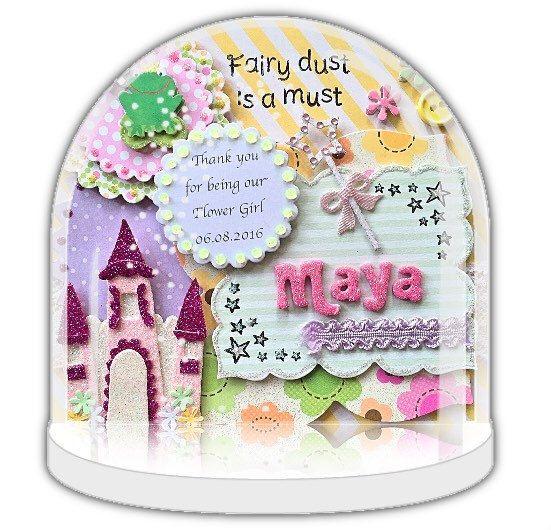 Personalised snow globe, flower girl present, personalised gift, fairy dust, baby girl, birthday gift, magic, christening gift, UK Shop