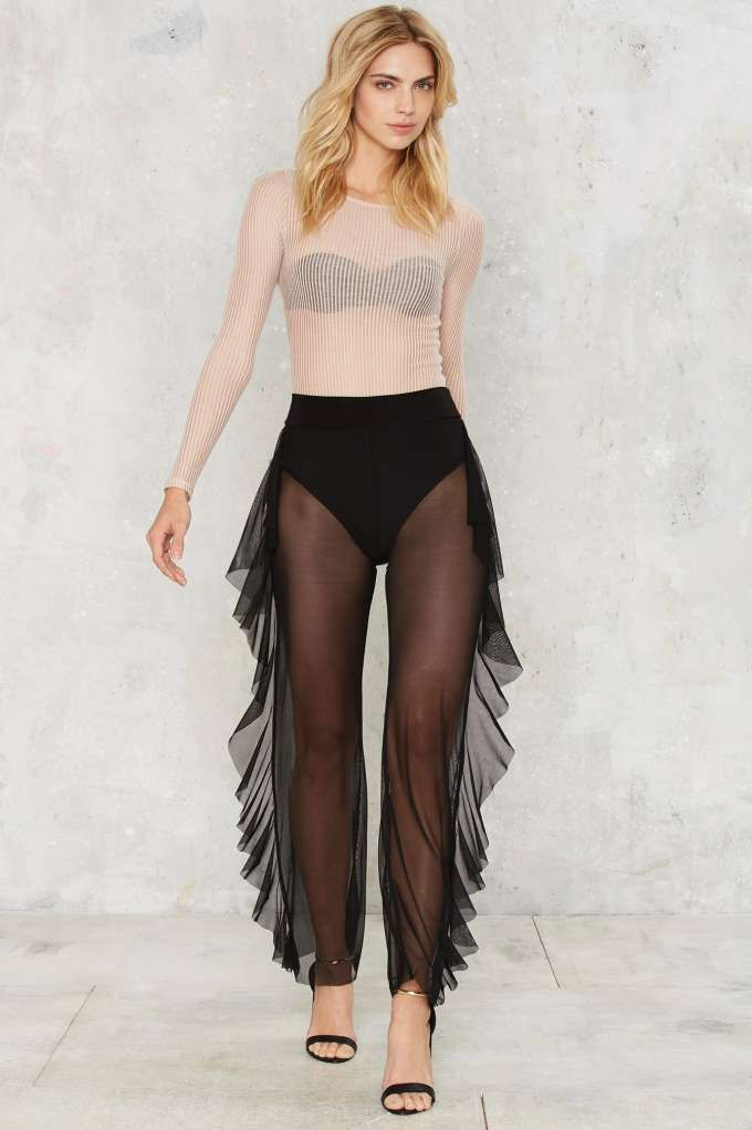 Sheer Business Ruffle Pants - Valentine's Day   Best Sellers   Back In Stock   Trouser