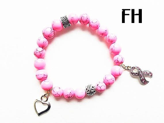 T Cancer Bracelet Awareness Ribbon Pink Magnesite