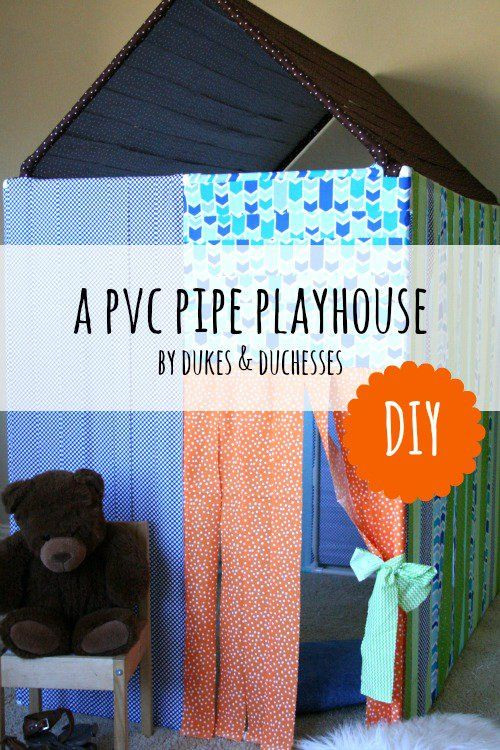 a DIY PVC pipe playhouse with no-sew fabric strip panels