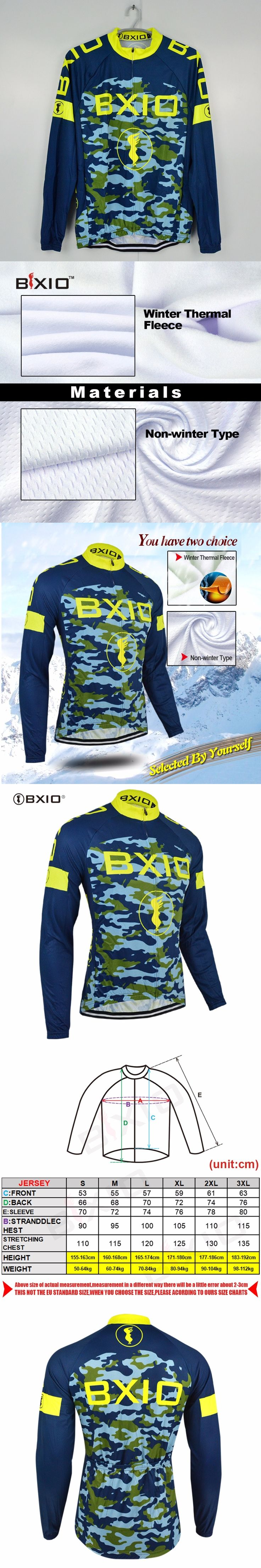 BXIO Pro Team Cycling Jersey Ropa Ciclismo Winter Long Sleeve Cycling Clothing Camouflage Equipe De France Maillot Ciclismo 052J