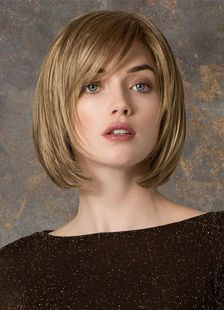 Short Straight Wigs Flaxen Tousled Blunt Fringe Bobs – Milanoo.com