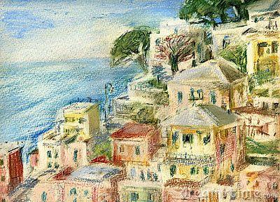 Sea view : fishing village of Riomaggiore, Cinque Terre, Italy