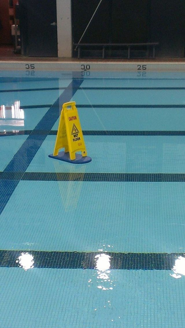 Wet floor, funny, humor, OMG, warning sign, slippery when wet, swimming, sports, swimmers, kick board, lane, swim meet