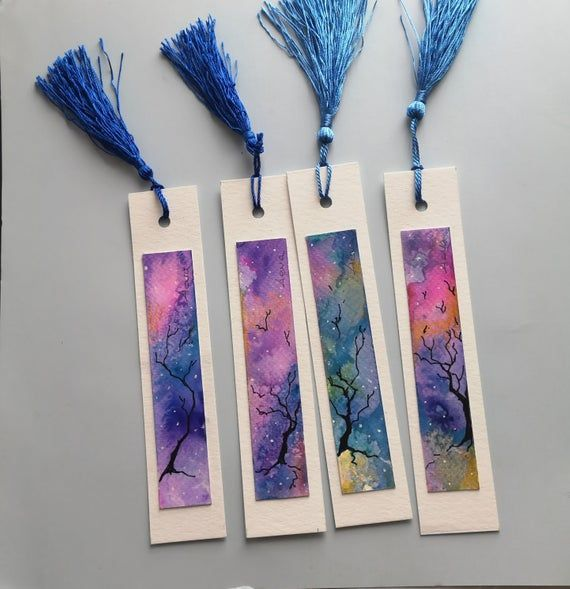 Watercolor Bookmarks Set Of 4 Abstract Painting Tree And Sky