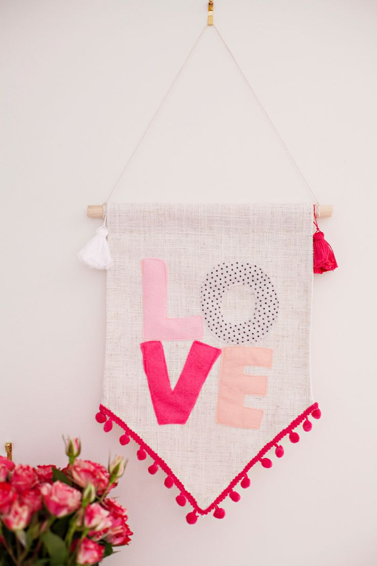 LOVE Wall Banner - wall hanging. natural colour linen and pink, peach, polka dot felt with tassels. Nursery Wall Art. Pennant Flag. by HelloPippo on Etsy https://www.etsy.com/listing/206597794/love-wall-banner-wall-hanging-natural