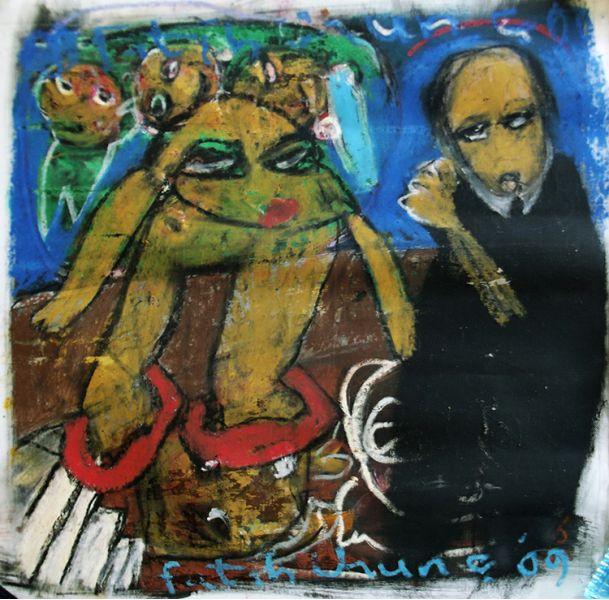 Fatih Urunç (1966-2012)  Tuval üzerine yağlıboya, 2009 tarihli.  50 x 50 cm