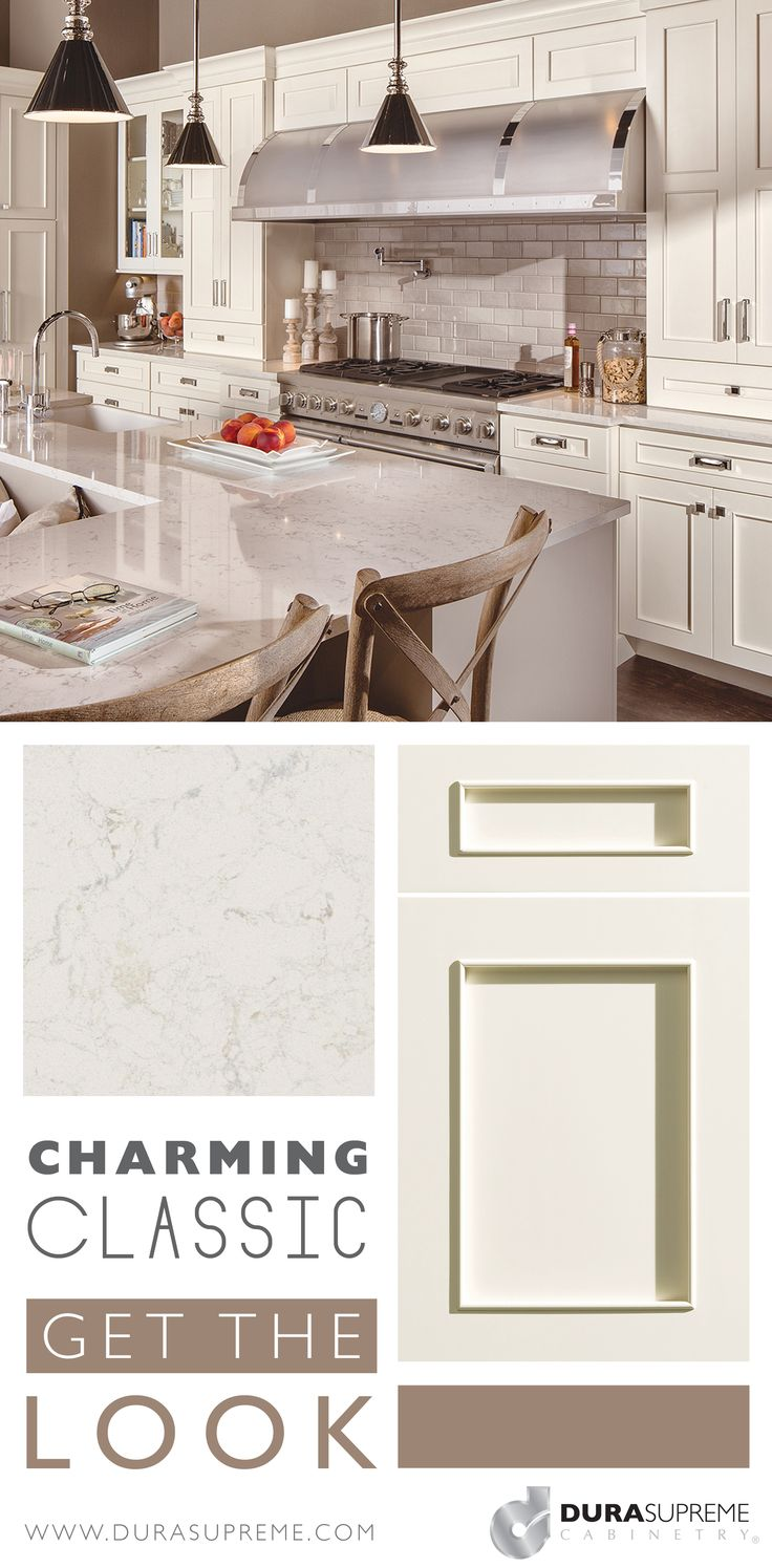 """Get the Look: Charming Classic - Achieve a timeless look when you combine Dura Supreme's Silverton door style in the """"Antique White"""" paint with a few accent glass doors, a neautral warm color palette, and Cambria's """"Torquay"""".  #interiordesign #kitchendesign #cabinetry #cabinets #durasupreme"""