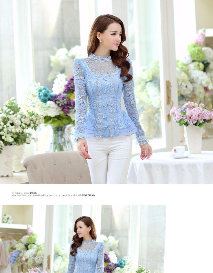 Осень новый женский волновой точки с длинными рукавами кружева рубашки элегантный женский шить органзы кружева шифон блузка женская мода топы купить на AliExpress