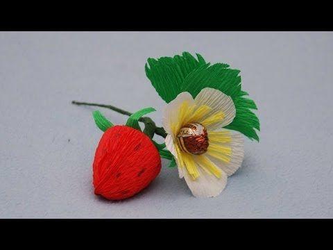 Клубника из конфет. Букет из конфет. DIY strawberry of sweets - https://www.youtube.com/watch?v=GkJO9LR7I2A