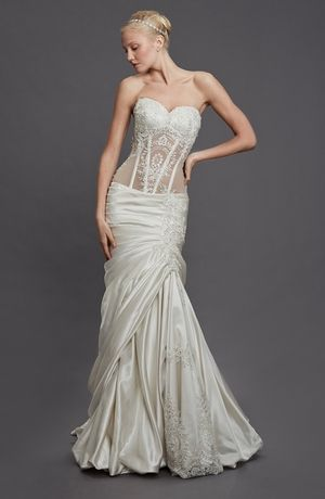 Sweetheart Mermaid Wedding Dress  with Dropped Waist in Satin. Bridal Gown Style Number:32862112