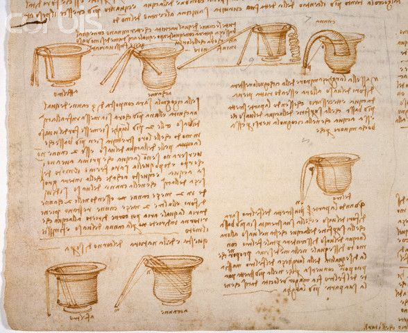 Detail Showing the Operation of Siphons from Codex Leicester by Leonardo da Vinci #TuscanyAgriturismoGiratola