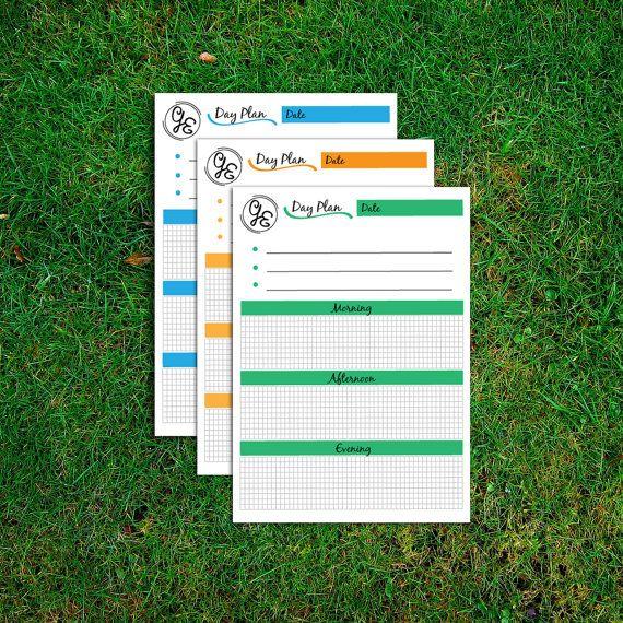 Планировщик печати, ежедневная Расписание, Daily To Do List, Примечания Page, Рабочий стол Планировщик, Планировщик, A4 и A5 план день размер, три цвета