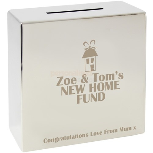Personalised House Silver Money Box  from Personalised Gifts Shop - ONLY £19.95