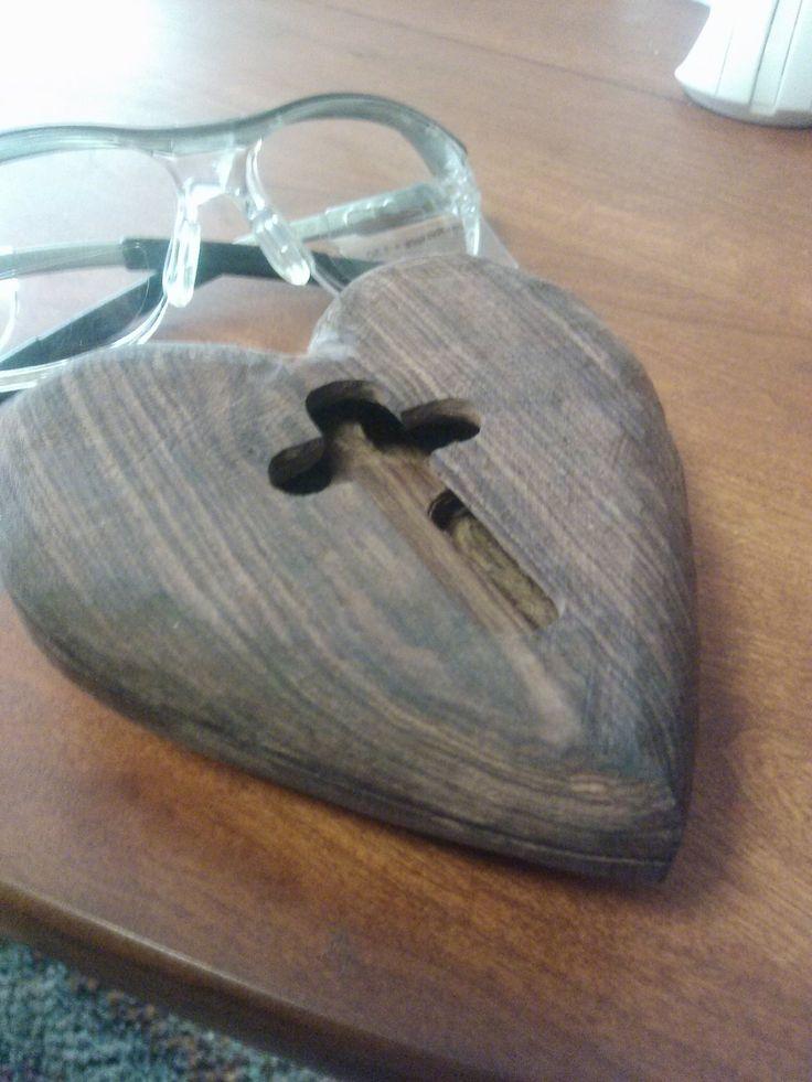 Heart of Jesus Christ will be seen through cross cutout