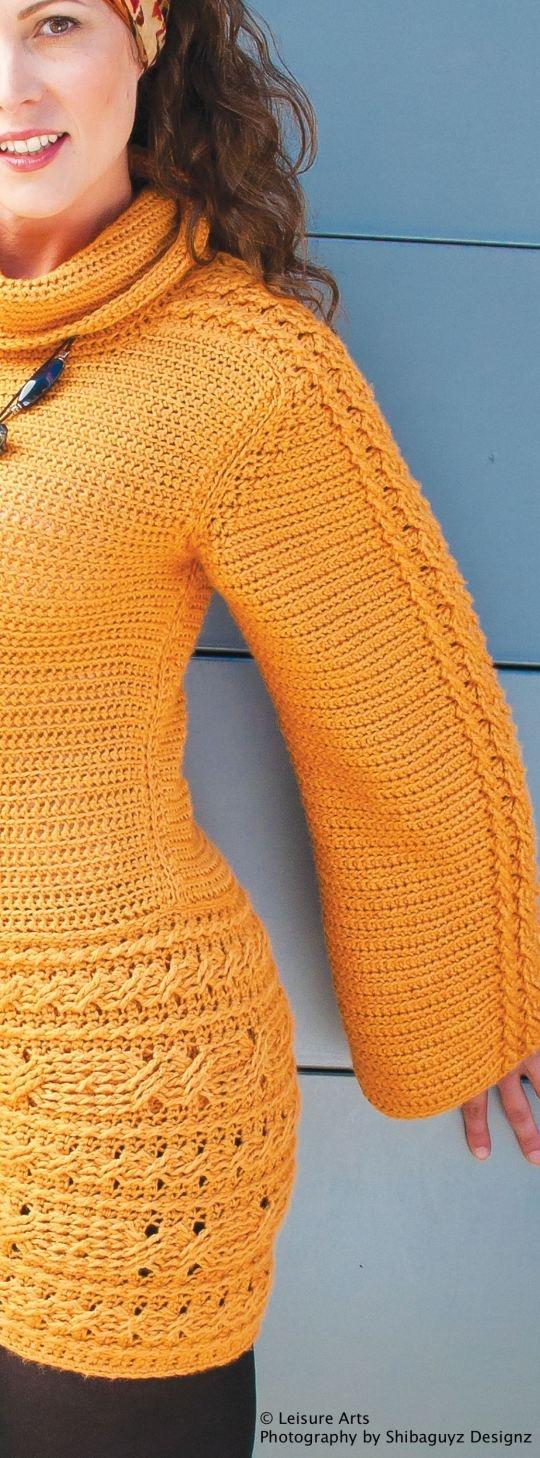 Dublin Cabled Sweater Dress crochet pattern from Urban Edge by Shibaguyz Designz.