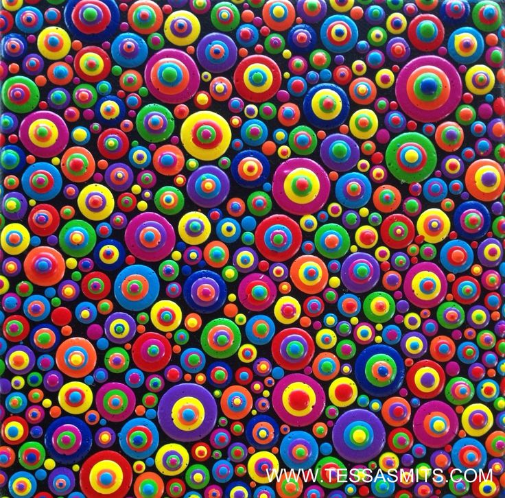 Abstract dot art painting life is fun by Tessa Smits