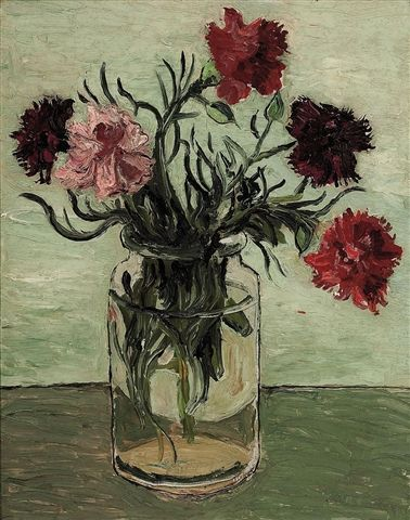 poboh: Christopher Wood (English, 1901-1930) Carnations in a Glass Jar 1925. Oil on board.