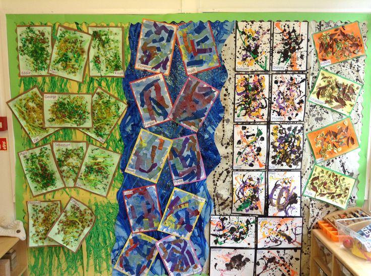 """""""We're going on a bear hunt..."""" The children looked at the work of Van Gogh, Monet and Jackson Pollock for inspiration on their journey through the grass, river and mud."""