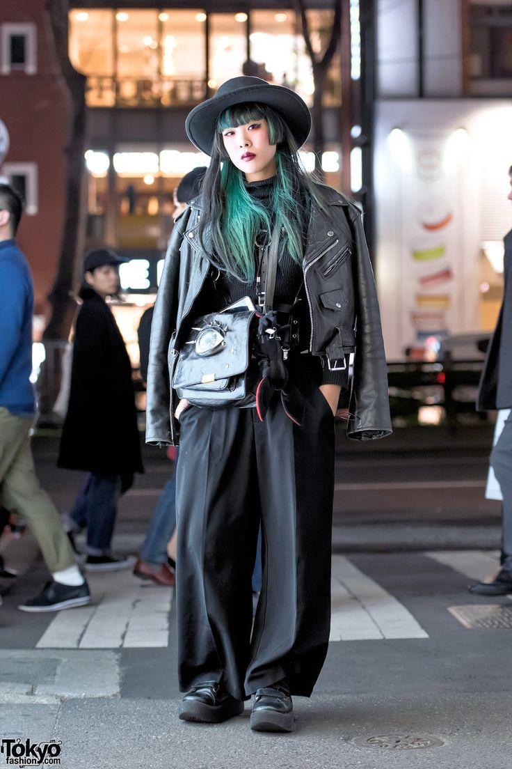 Malicious.X Eyeball Bag, Biker Jacket & Tokyo Bopper Shoes in Harajuku