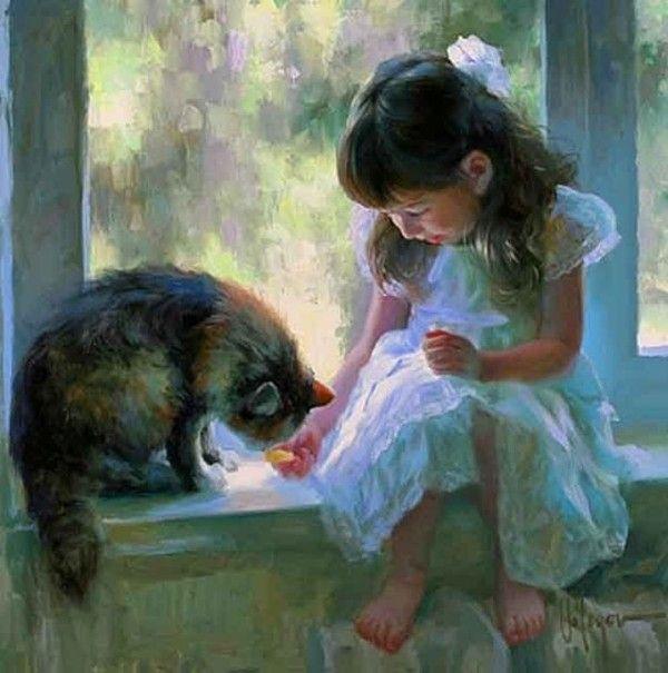 Vladimir Volegov: Cat Art, Artists, Kitty Cat, Oil On Canvas, Windows By Dogscatsetc, Vladimir Volegov, Paintings, Window Seats, Young Girls