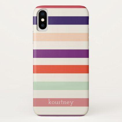 Bold Stripes Monogram iPhone X Case - patterns pattern special unique design gift idea diy
