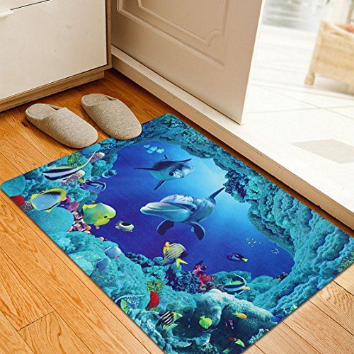 MAXYOYO Blue Anti-slip Underwater World Doormat,Vivid 3D Sea Bathroom Mat Living Room Bed Room Area Rug