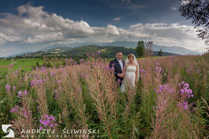 Wedding photography - in the flowers. / Plener ślubny w kwiatach.