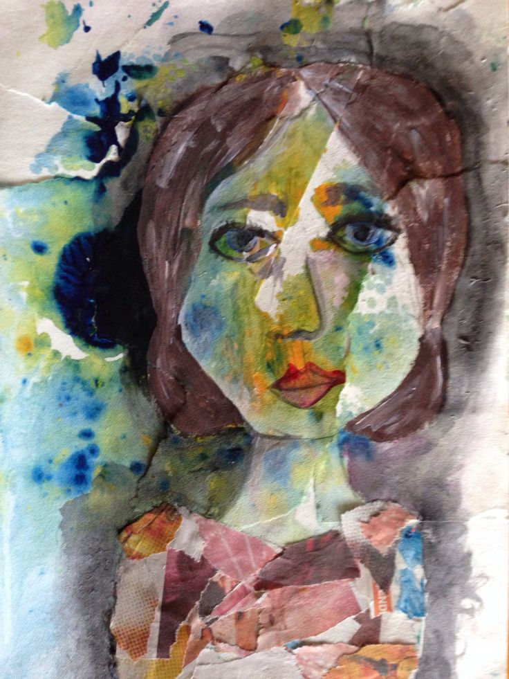 Year 7/8 mixed media portrait
