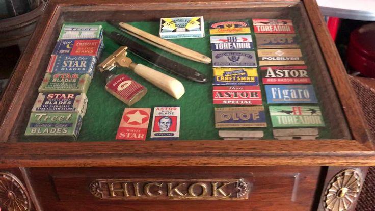 Vintage HICKOK Barbershop Razor Shaving Supplies Retail Cabinet FOR SALE...