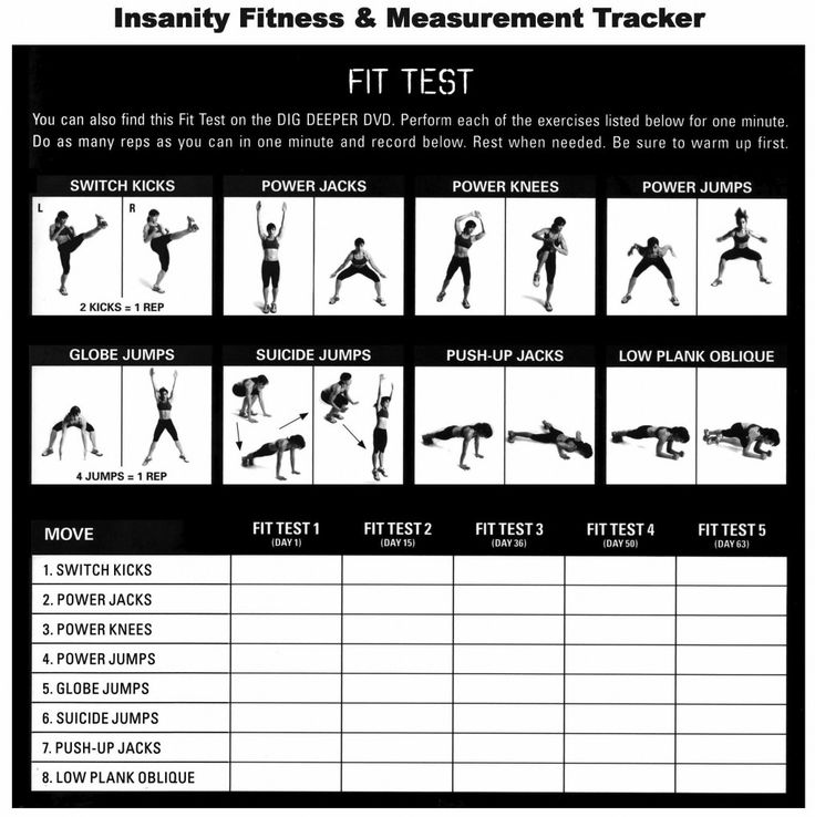 Insanity Fitness & Measurement Tracker printable