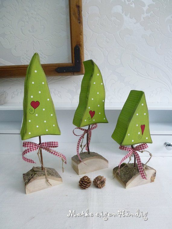 Wooden trees, decorative trees, fir tree, Christmas decorations, country house style