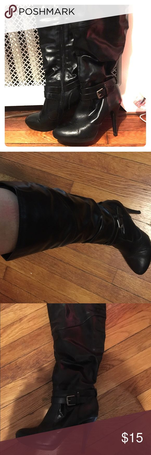 """Knee high sexy black scrunchy books 3.5"""" heels Style&Co very sexy knee high faux leather boots--good with most everything! Actually comfortable. 14"""" up from top of heel Style & Co Shoes Heeled Boots"""