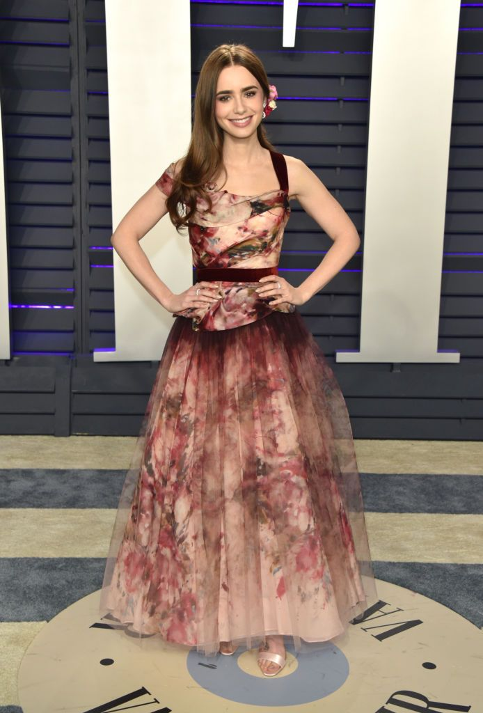bc820b0e05 Lily Collins In Marchesa - 2019 Vanity Fair Oscar Party