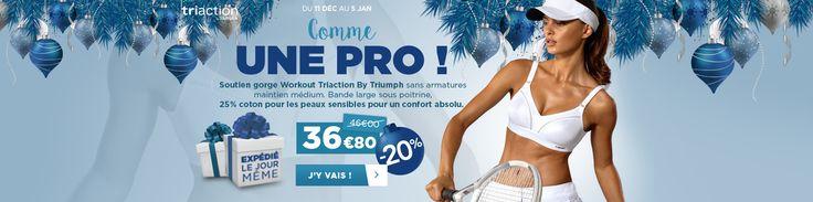 Soutien gorge sport Workout Triaction by Triumph idéal pour une personne sportive à peau sensible, il est conçu avec du coton.