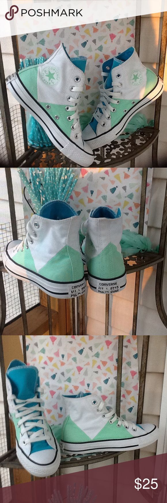 Converse All Star If I could get my big feet in these!! This mama would so be Rockin these instead of selling!!They are so stinkin adorable.white and mint green w/turquoise tong and lining.these are not the unisex that ladies go up in size,they are marked women's sz.5,so they are a true ladies 5.great condition.  Bundle & Save 20%!!! Converse Shoes Sneakers