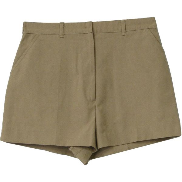 Tail Eighties Vintage Shorts: 80s -Tail- Womens khaki tan polyester... ($18) ❤ liked on Polyvore