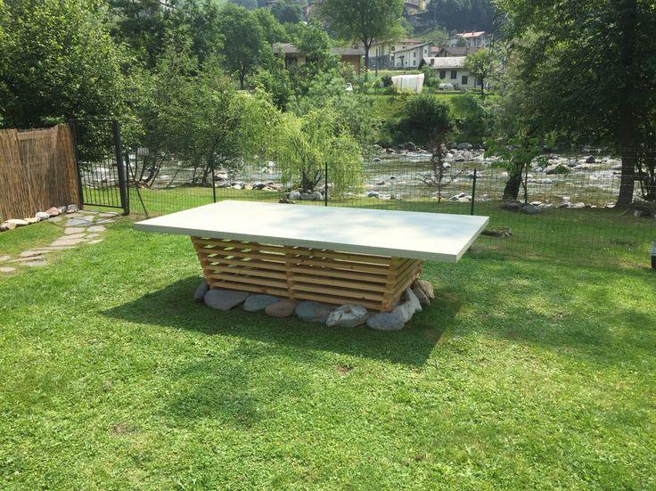 tavolo fisso da esterno 3x 1,50m rivestito in resina PMMA