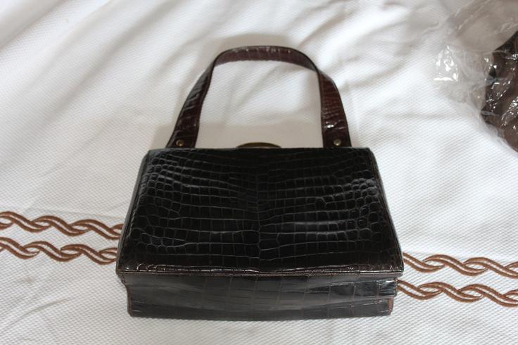 late 40s early 50s real crocodile bag
