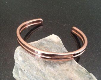 Mens Copper Bracelet BR028P Double Bar Mens by CopperMillDesigns