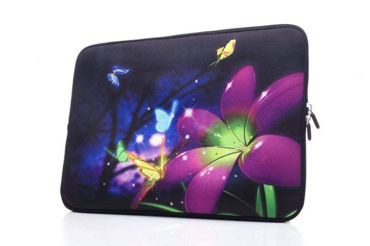 YIDA 15-15.6 Inch Laptop Sleeve Case Handle Bag Neoprene Cover, Butterfly Flower #YIDA
