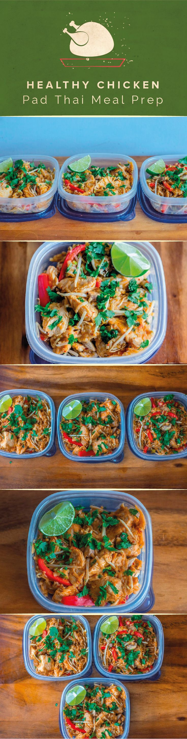 Recreating healthier versions of your favorite meals is a great way to add variety to your diet. Asian cuisines are among the most savory and exciting so it's fairly easy to draw inspiration from popular dishes. This chicken pad thai recipe is just what your meal prep needed. #fitmencook #fitwomencook #chicken #padthai #healt