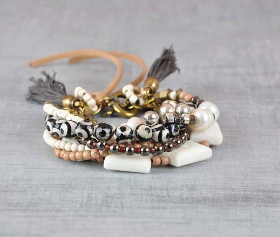 Tribal Gemstone Bracelet  Bohemian Beaded Bracelet  Multi