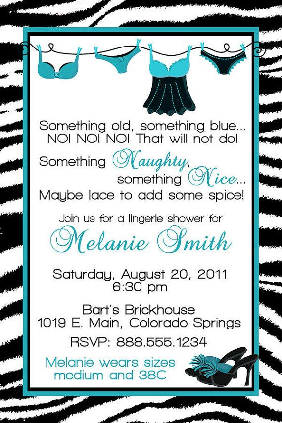 customized bridal lingerie shower invitation by