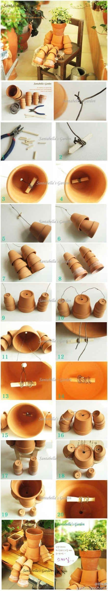 How to make Clay Pot Flower People by bellabluetwo