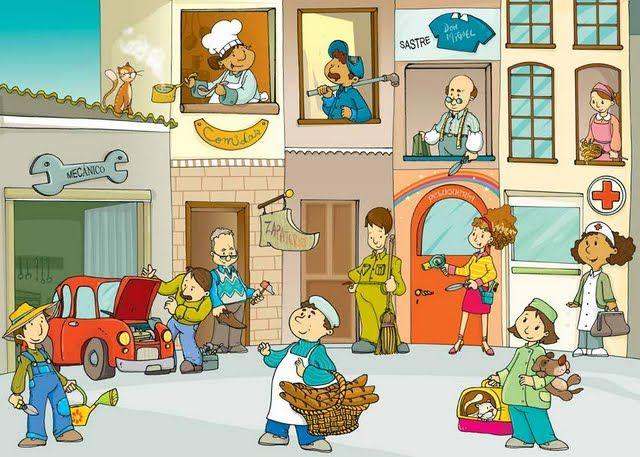 Bits de profesiones. Pictogramas para aprender las profesiones: Abogado/a, Albañil, Maestro/a. Doctor/a....